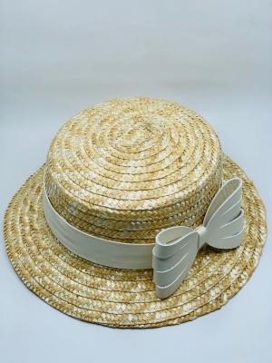 Straw sun hat cream logo