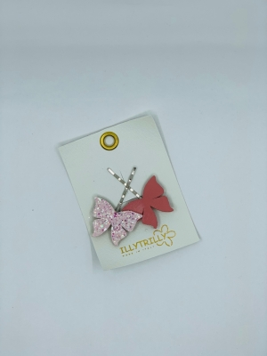 Hairclips butterfly pink logo