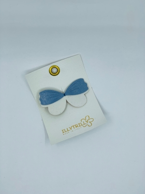 Hairclips wild butterfly blue logo