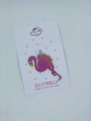 Hairclip tropical flamingo logo