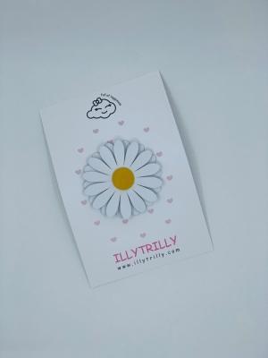 Hairclip daisy white logo