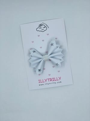 Hairclip stardust bow white logo