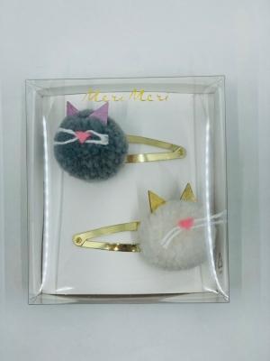 Cat pompom hair clips logo